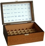 Hand-crafted, oak-stained storage box for 40 bottles (10ml).