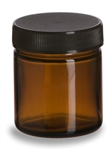 1.7 oz (50 ml) Amber Straight Sided Glass Jar with Black Lid