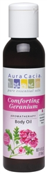 Aura Cacia Comforting Geranium, Aromatherapy Body Oil, 4 oz. bottle