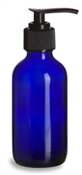 4 oz Cobalt Blue Boston Round Glass Bottle with Black Pump