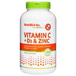 NutriBiotic Vitamin C + D3 & Zinc 250 caps