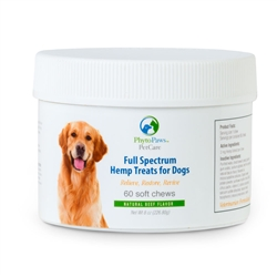 Full Spectrum Hemp Treats for Dogs 60 Beef Flavored chew, 2 mg CBD Oil